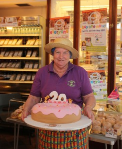 Sylvie Berg and our  special doughnut cake